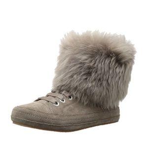Ugg Antoine Fur Cuff Sneaker Slate Gray Sz 8.5